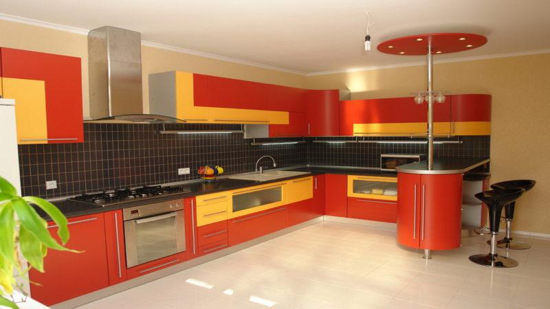 кухня персикового цвета (14)