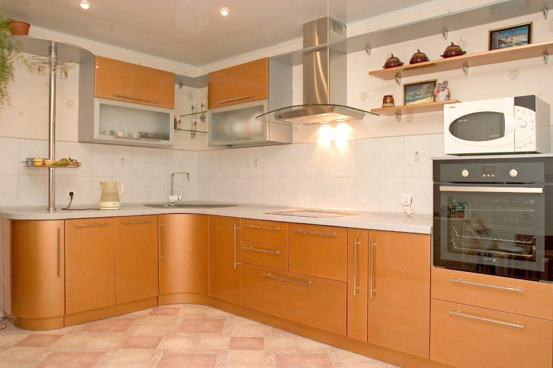 кухня персикового цвета (17)