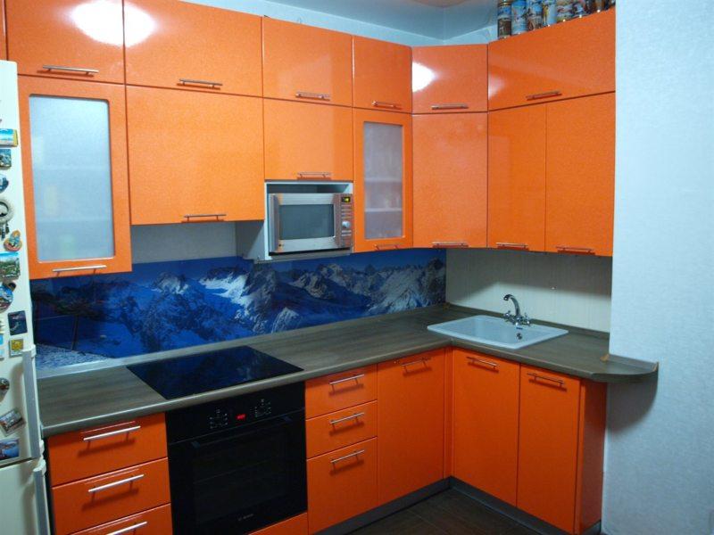 кухня персикового цвета (23)
