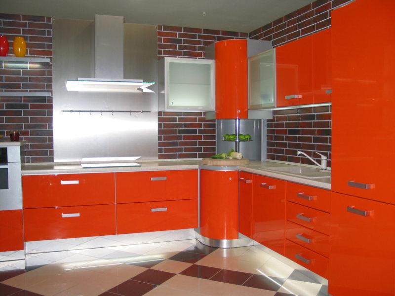 кухня персикового цвета (25)
