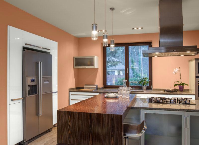 кухня персикового цвета (35)