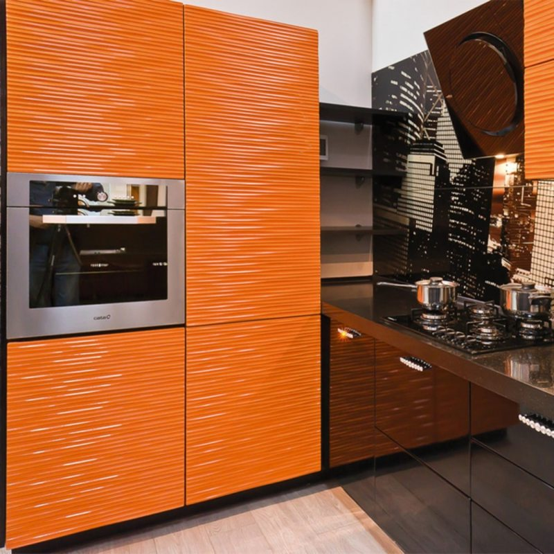 кухня персикового цвета (36)