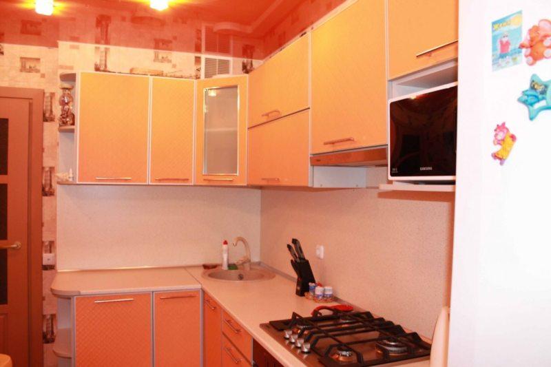 кухня персикового цвета (40)