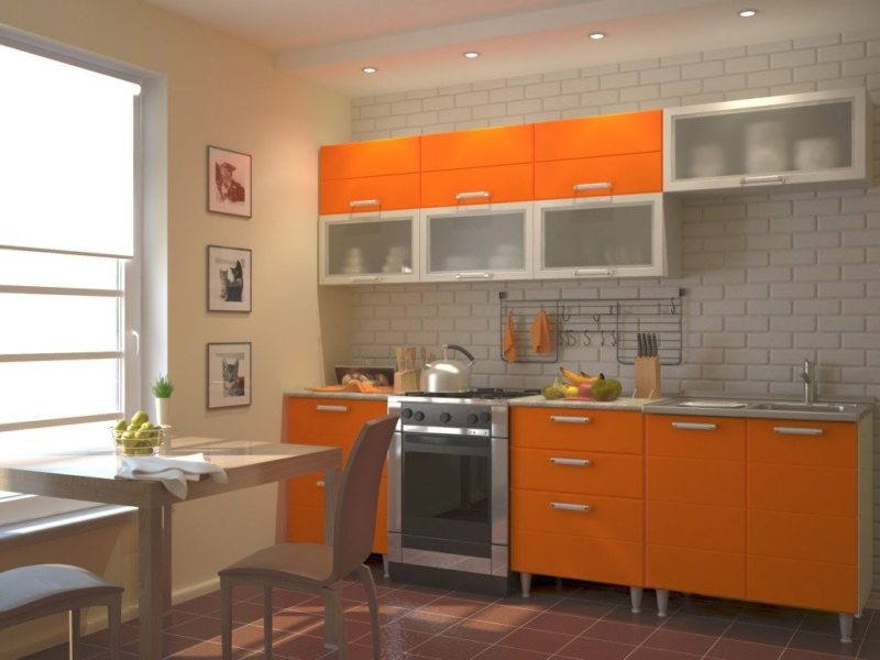 кухня персикового цвета (42)