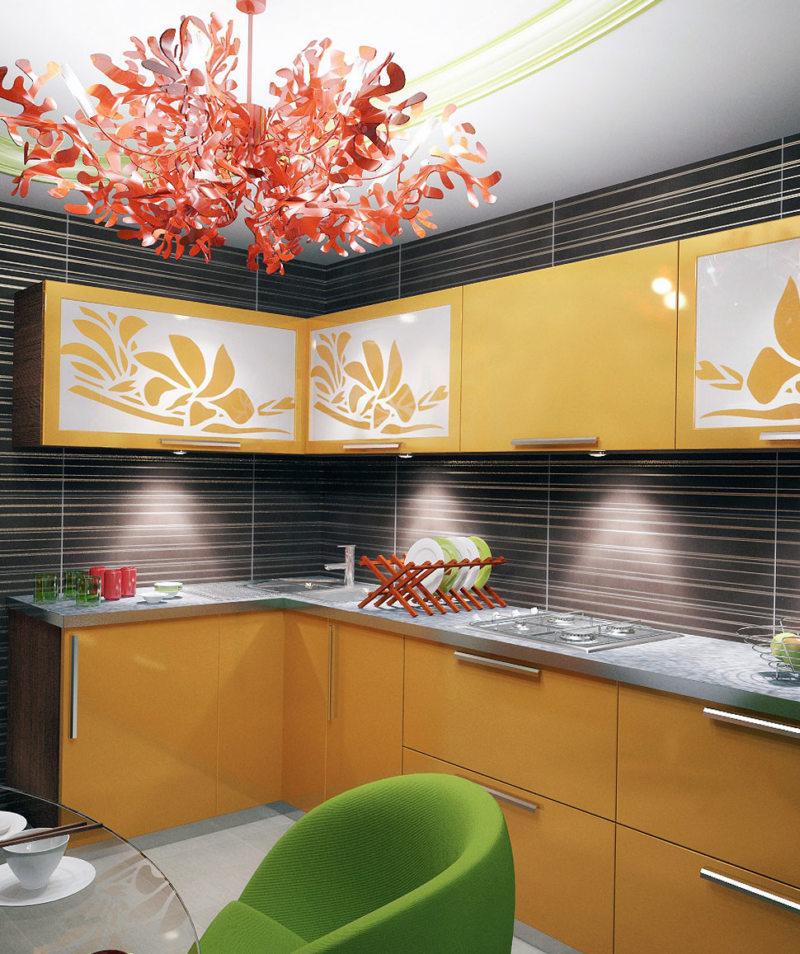 кухня персикового цвета (52)