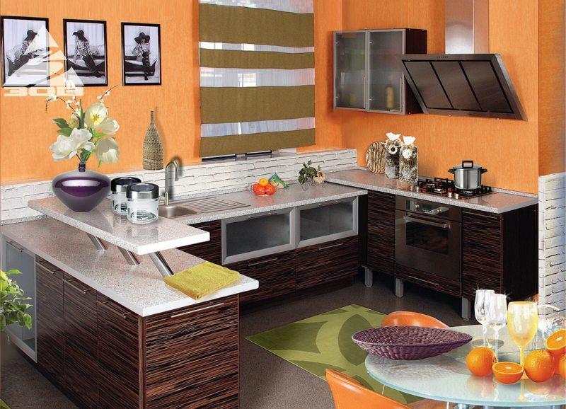 кухня персикового цвета (54)