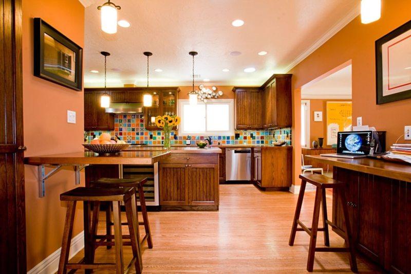 кухня персикового цвета (55)