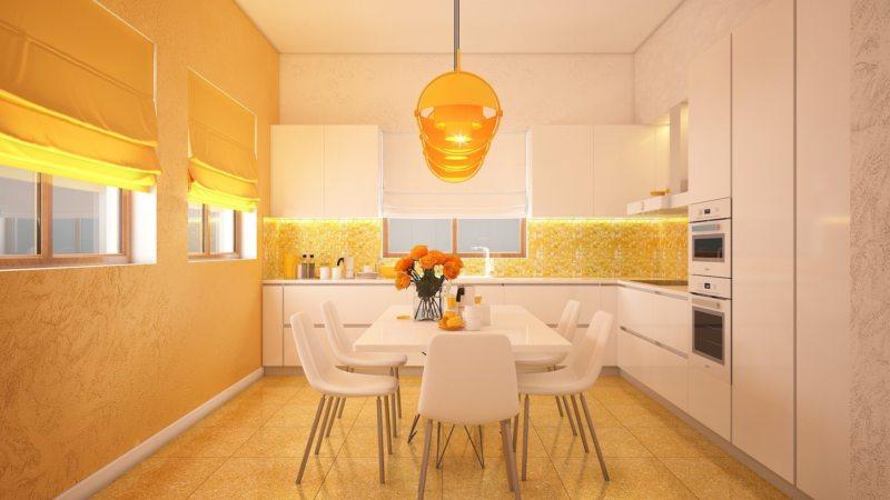 кухня персикового цвета (56)