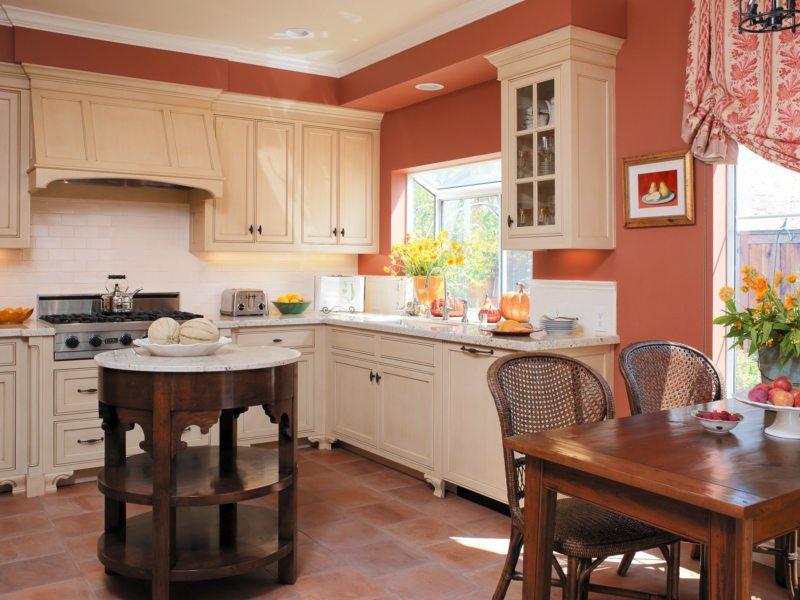 кухня персикового цвета (58)