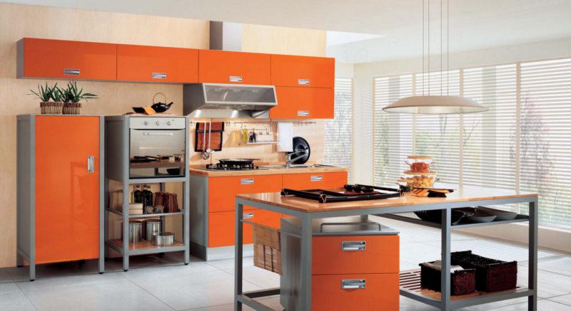 кухня персикового цвета (62)
