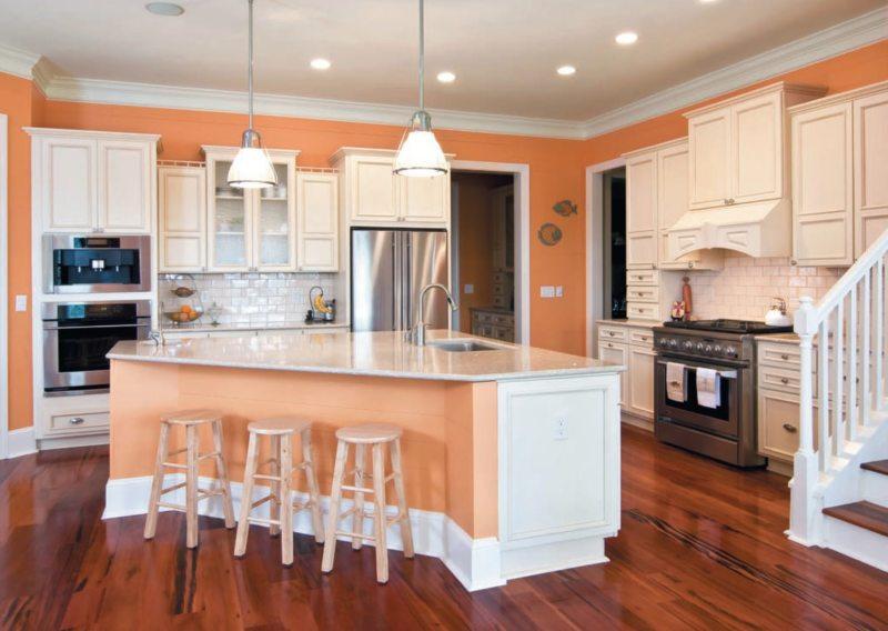 кухня персикового цвета (63)