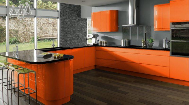 кухня персикового цвета (65)