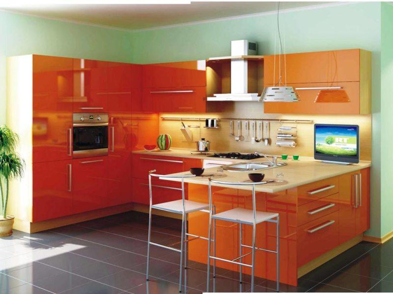 кухня персикового цвета (9)