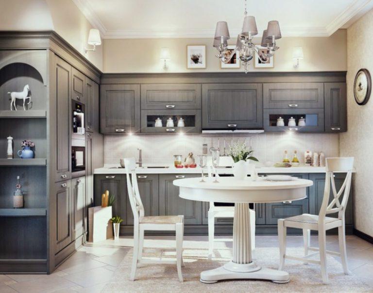 Интерьер кухни в сером цвете фото