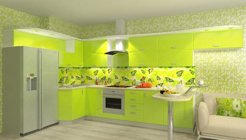 кухня цвета лайм (23)