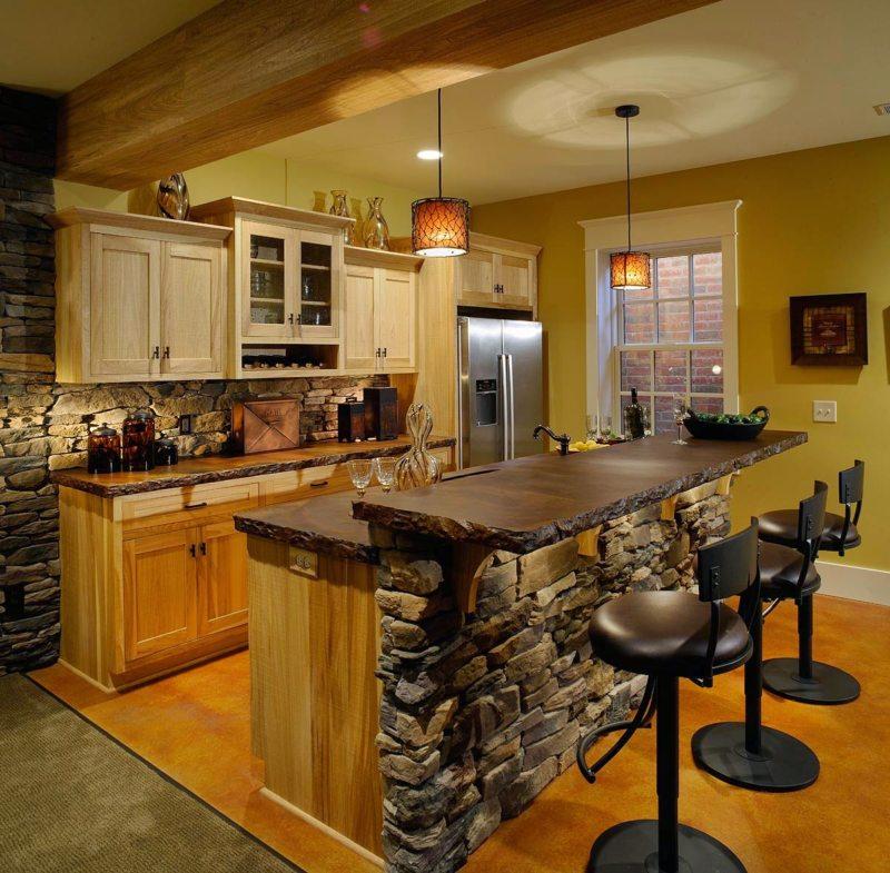 Дизайн кухни в стиле бар
