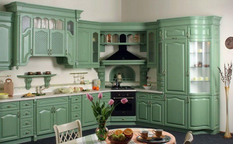 кухня в фисташковом цвете 1 (38)