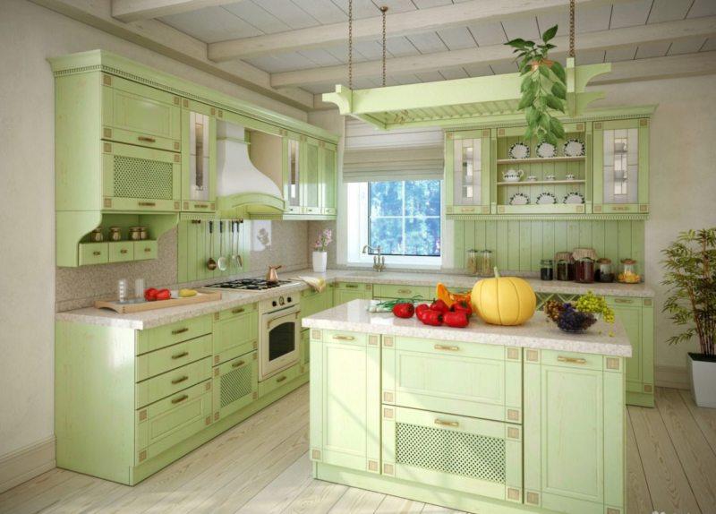 кухня в фисташковом цвете 1 (49)