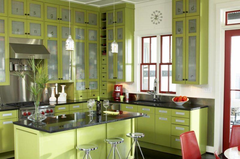 кухня в фисташковом цвете 1 (56)