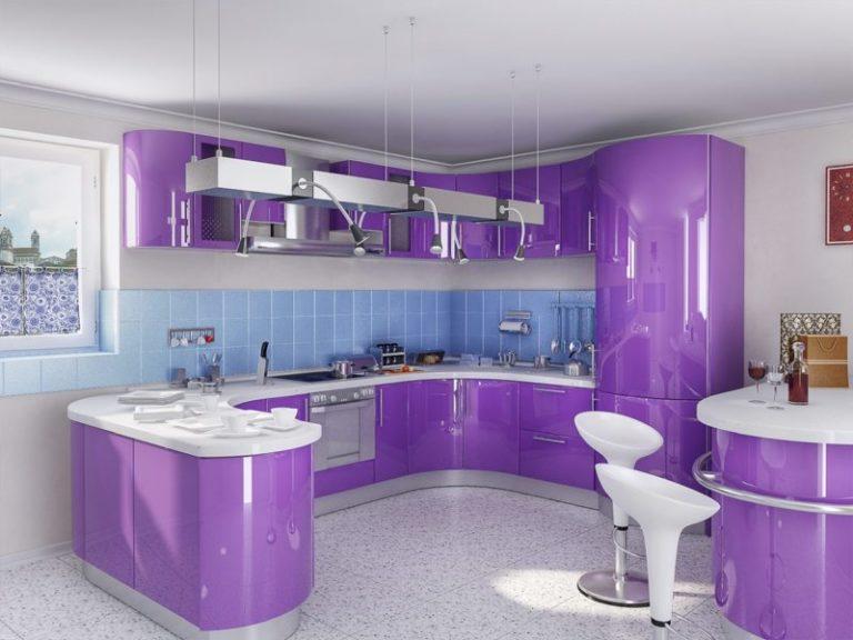 Интерьер кухня фиолетовая фото