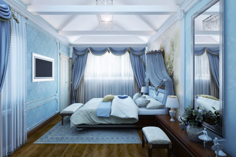 Спальня в синем цвете дизайн 136