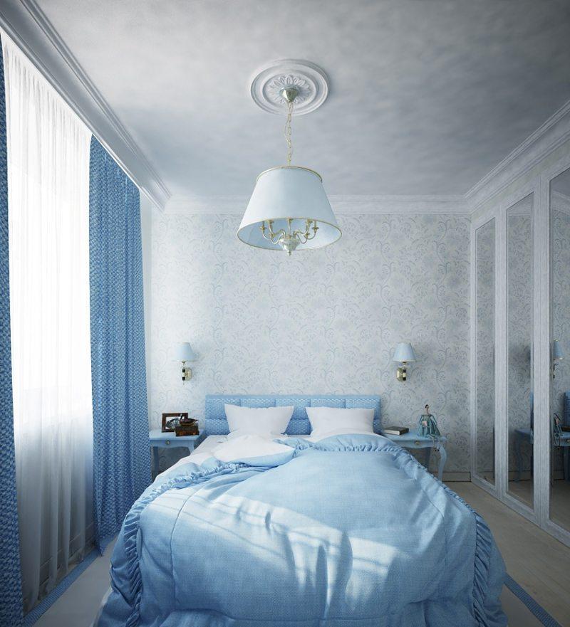 Голубая спальня дизайн