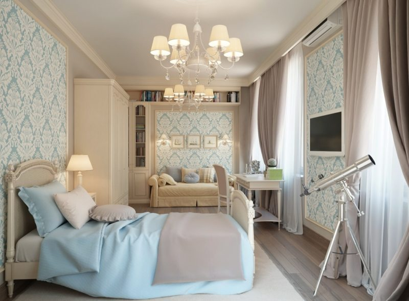 Traditional Apartment Bedroom Interior Design Idea Classic Pattern Wallpaper White Cone Shade Branched Chandelier - Imageelf