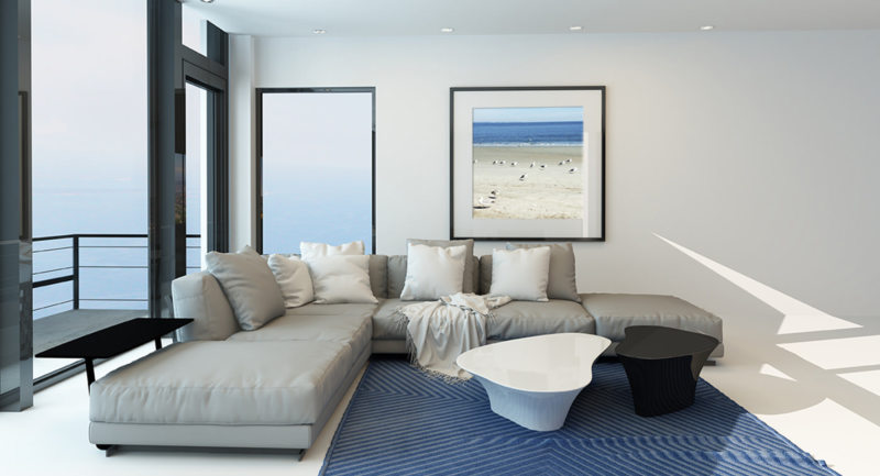 Modern waterfront living room interior