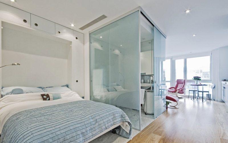 Спальня в однокомнатной квартире (11)