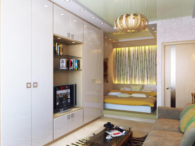 Спальня в однокомнатной квартире (12)
