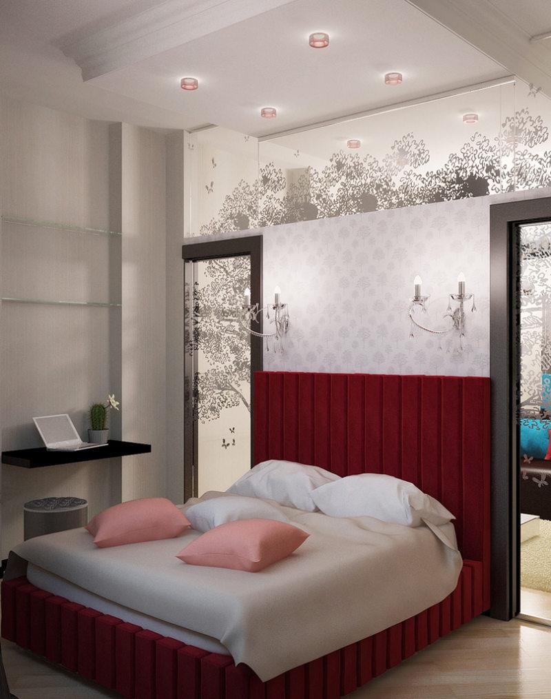 Спальня в однокомнатной квартире (13)