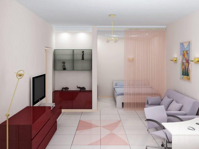 Спальня в однокомнатной квартире (14)