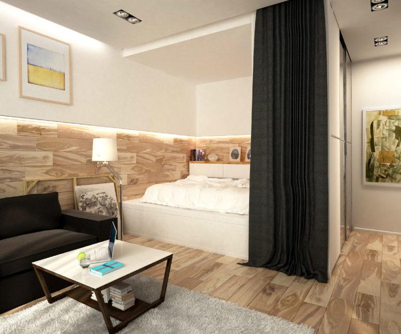 Спальня в однокомнатной квартире (18)