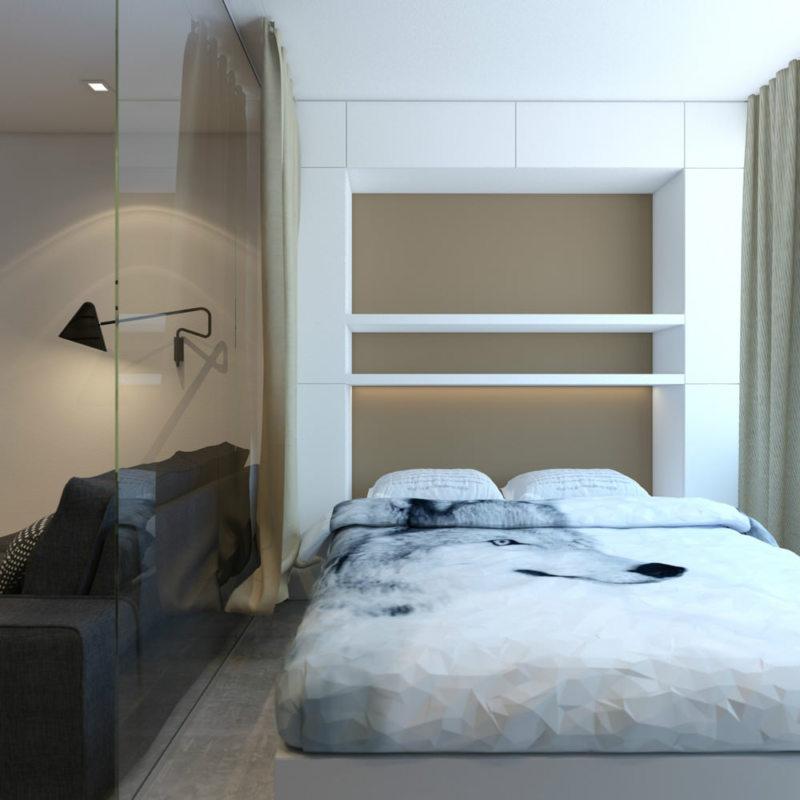 Спальня в однокомнатной квартире (19)