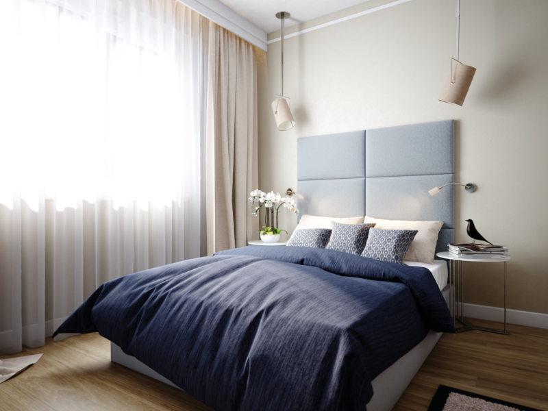 Спальня в однокомнатной квартире (21)