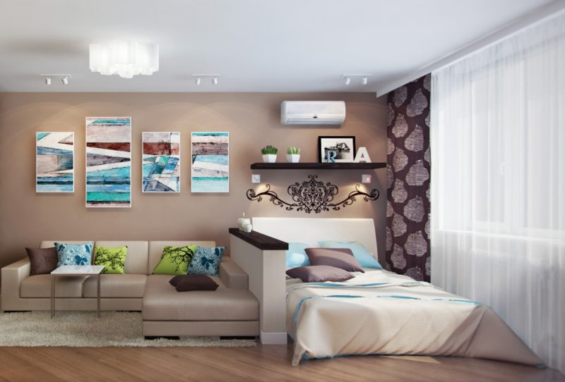 Спальня в однокомнатной квартире (22)