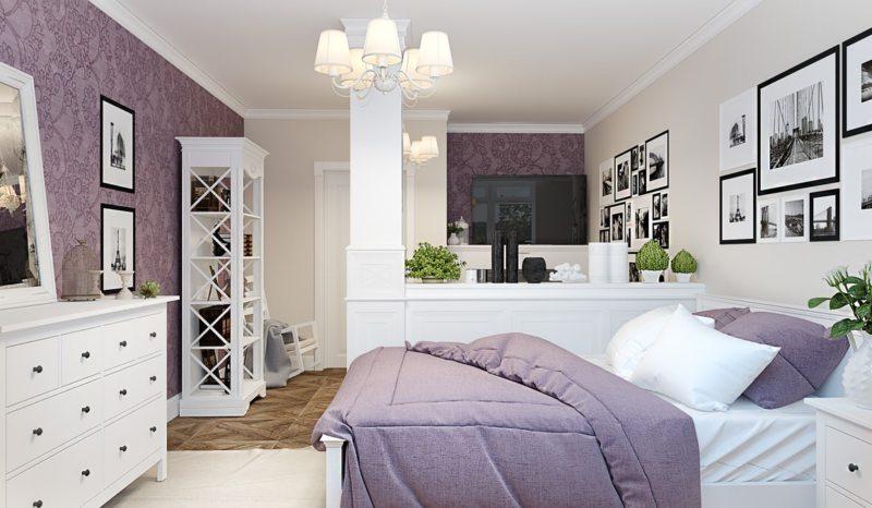 Спальня в однокомнатной квартире (23)
