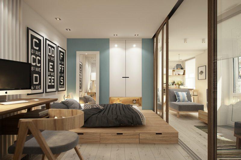 Спальня в однокомнатной квартире (28)