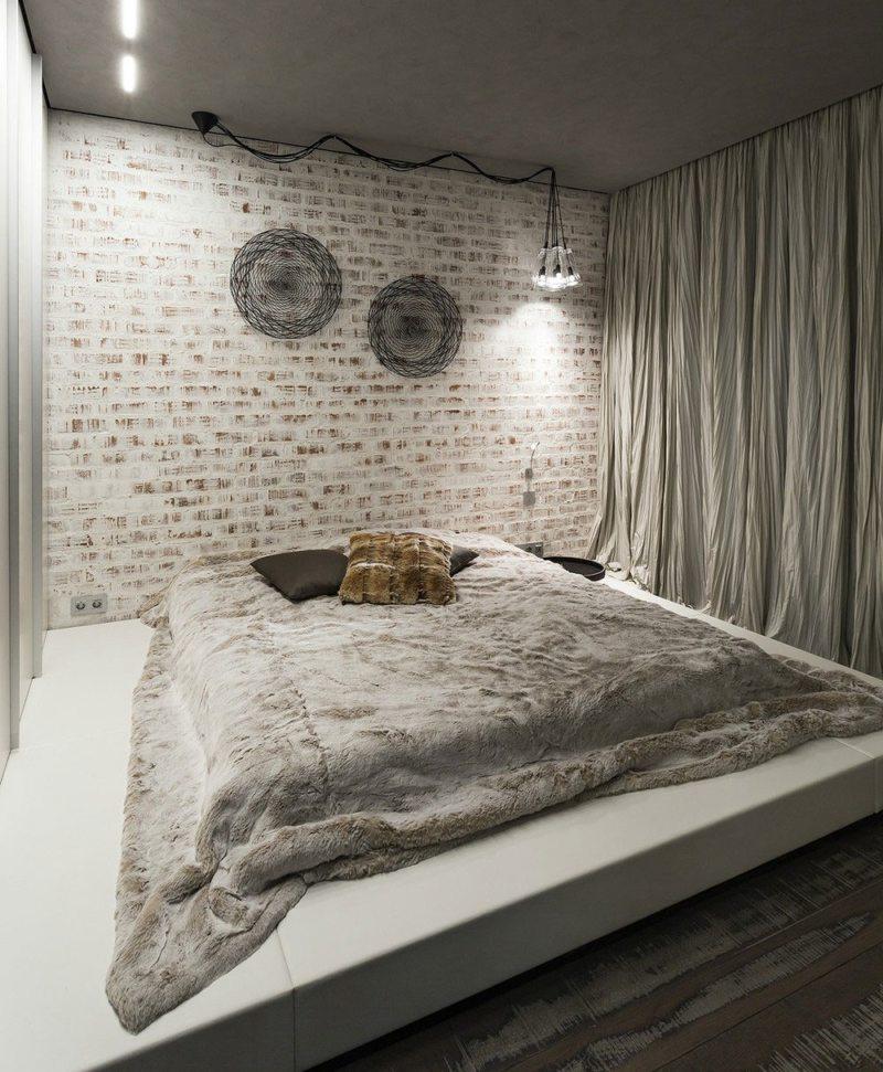 Спальня в однокомнатной квартире (29)