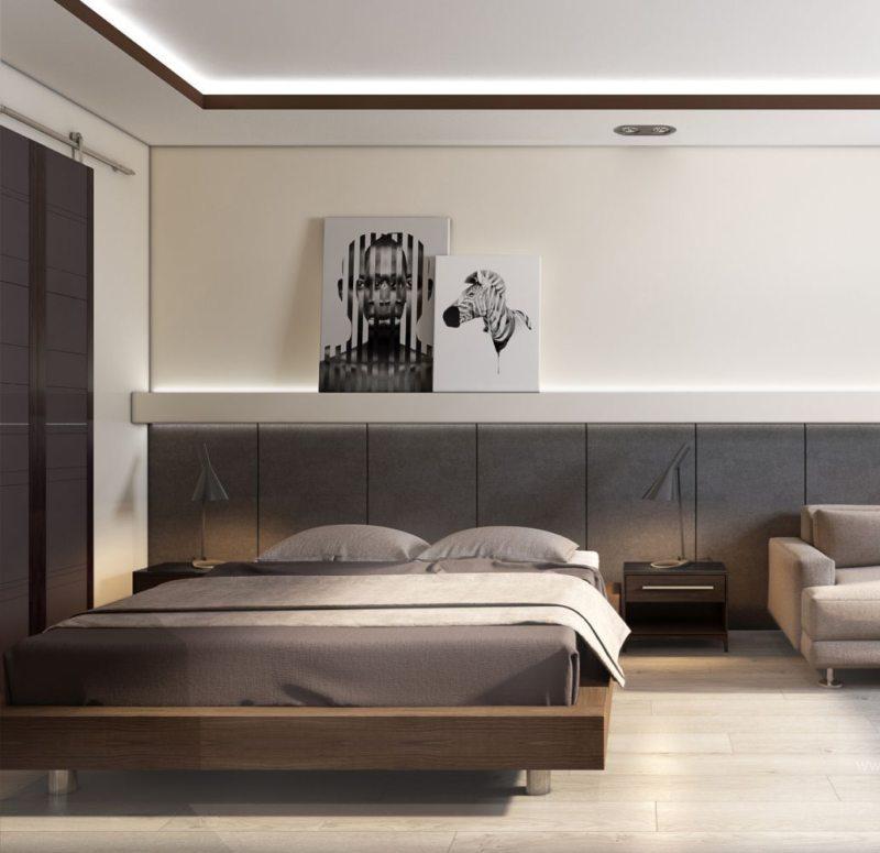 Спальня в однокомнатной квартире (33)
