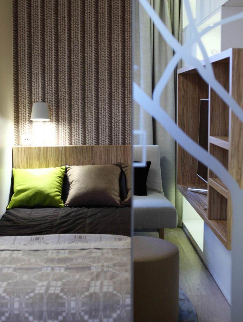 Спальня в однокомнатной квартире (35)