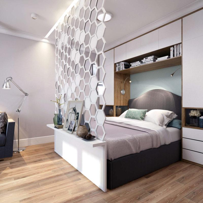 Спальня в однокомнатной квартире (40)