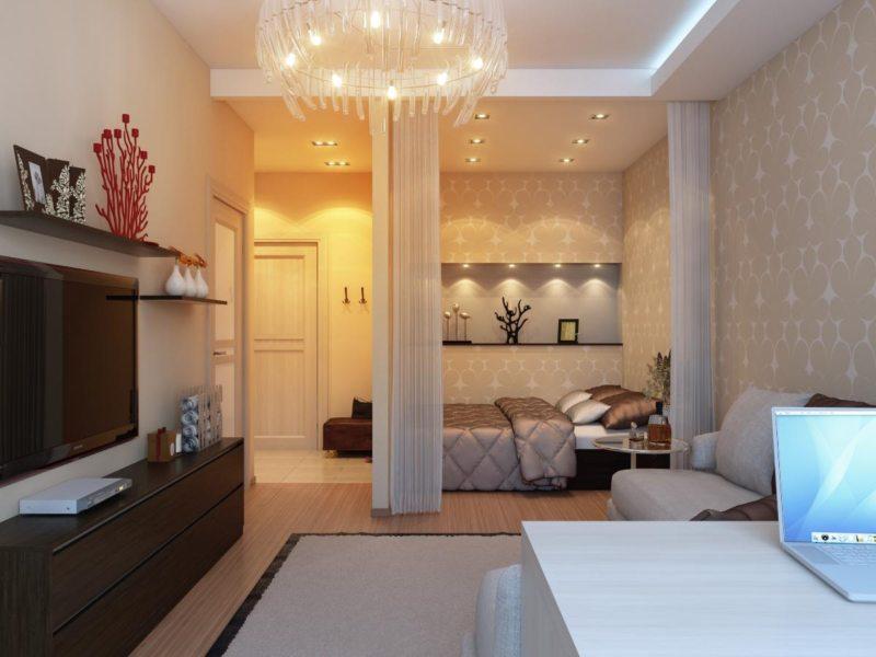 Спальня в однокомнатной квартире (43)