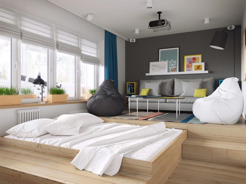 Спальня в однокомнатной квартире (44)