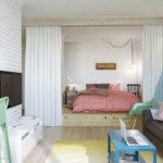 Спальня в однокомнатной квартире (45)