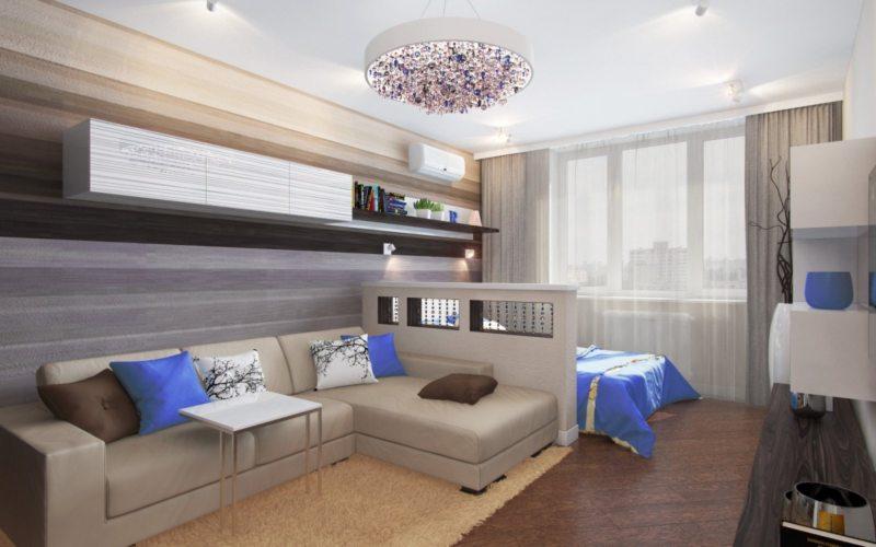 Спальня в однокомнатной квартире (46)