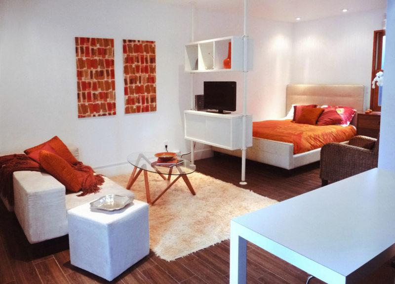 Спальня в однокомнатной квартире (49)