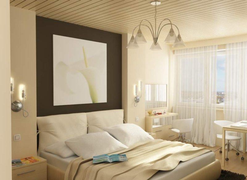 Спальня в однокомнатной квартире (50)