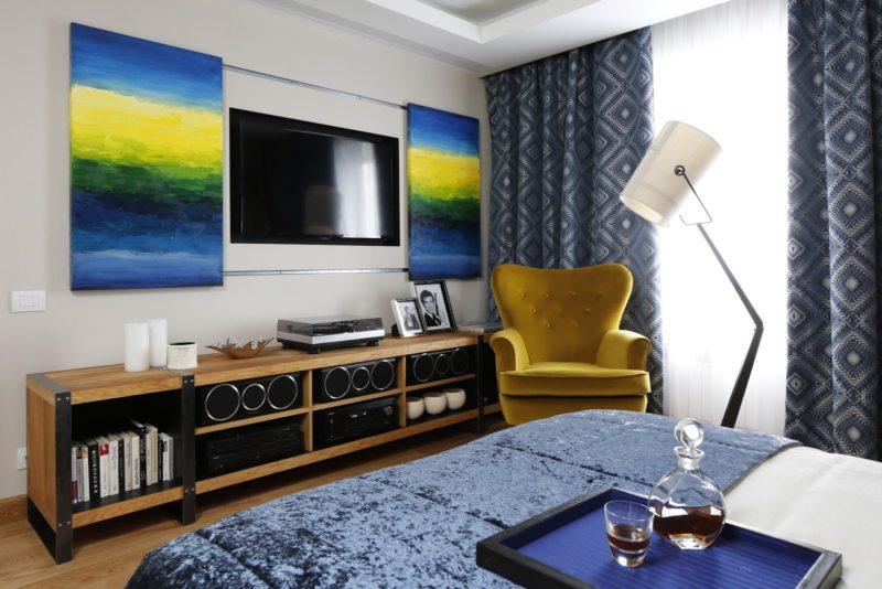 Спальня в однокомнатной квартире (51)