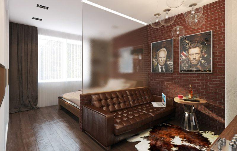 Спальня в однокомнатной квартире (52)